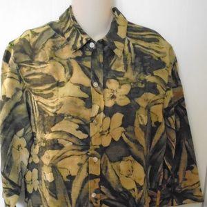 Chico's Women's Silk Linen Blouse Size 1 Floral